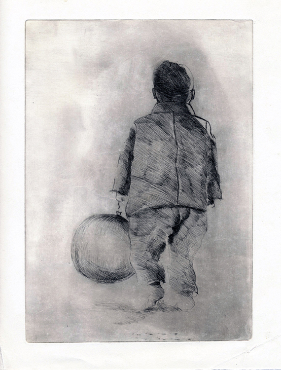 A Poika ja ilmapallo 1972, viivasyövytys, 15,5 x 22,5cm pieni