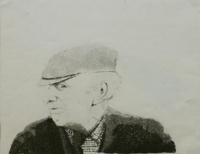 G Vanha mies (Wales) 1974, sokeriakvatinta, laveeraus, pieni uusi 18,5x23,5cm