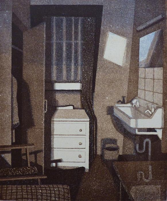 Hotel Dorian 1984, akvatinta etsaus, 30x25cmn pieni 2
