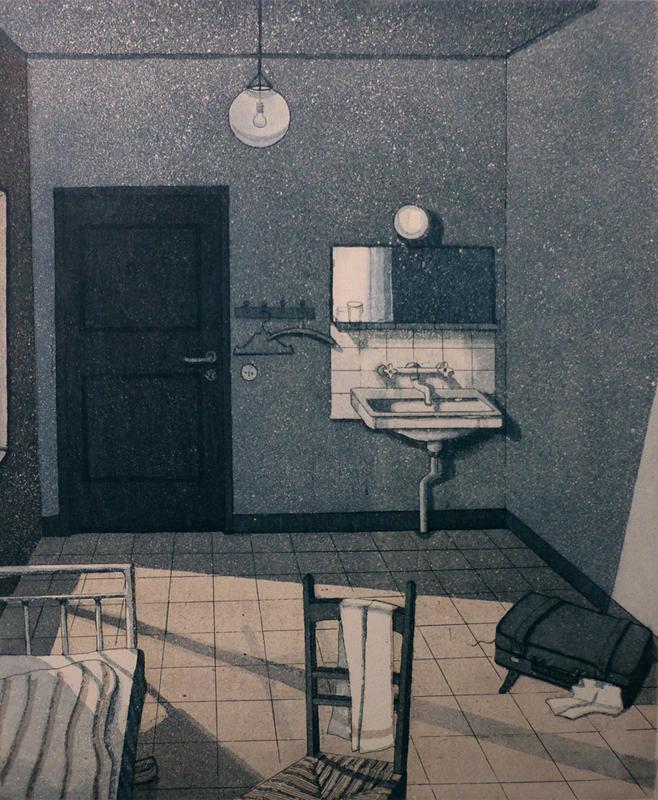 Huone numero 3  1983, akvatinta etsaus, 32,5x27cm pieni2