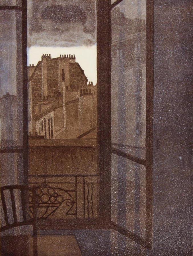Ikkuna auki Eurooppaan 1984, akvatinta etsaus, 34x26cm pieni2