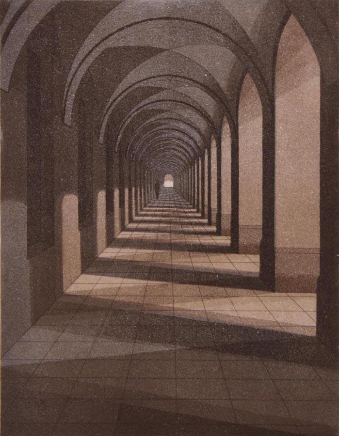 Käytävä II 1987, akvatinta etsaus, 34,5x26,6cm pieni 2