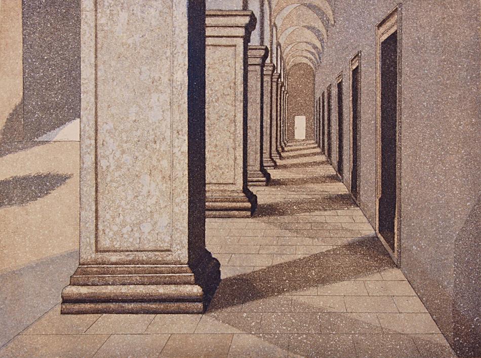 Käytävä II 1995, akvatinta etsaus, 29x38cm pieni