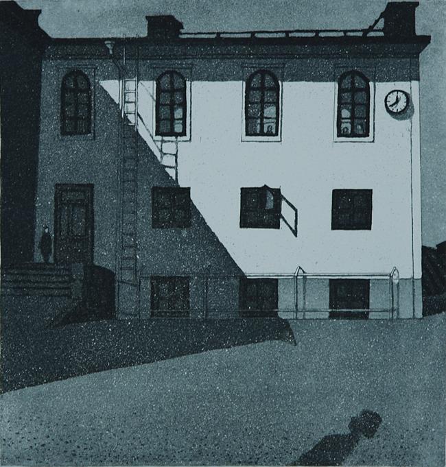 Koulun pihalla 1981, Akvatinta etsaus 24 x 24,5 cm