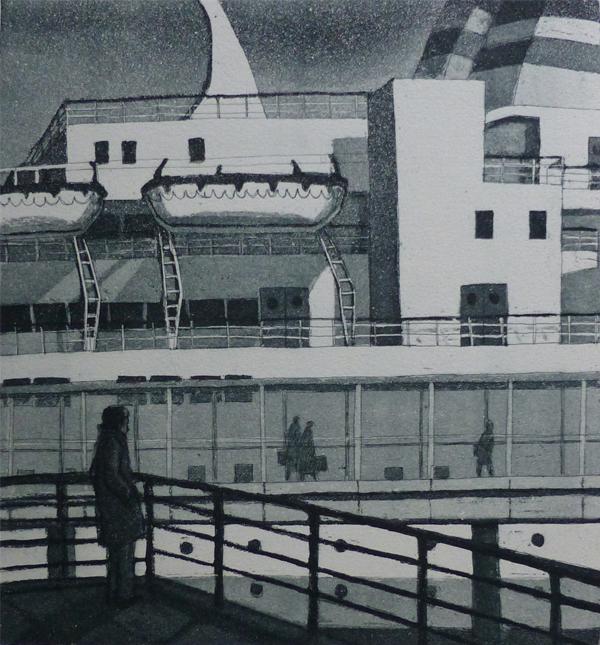 Kun laiva lähtee 1979,akvatinta etsaus, 22x20cm uusi pieni