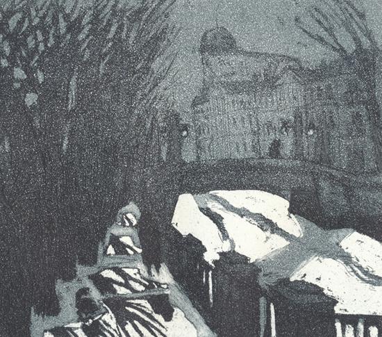 Leningrad, Sumua 1978, akvatinta etsaus, 14,5 x 13cm pieni