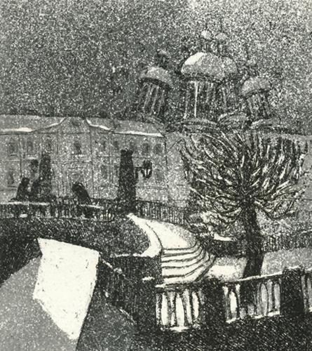 Leningrad, Tuiskussa 1978, akvatinta etsaus, 13 x 14,5cm pieni