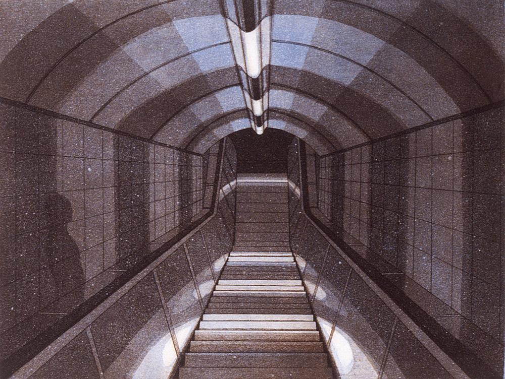 Matka unessa II 1987, akvatinta etsaus, 27,5x36cm pieni