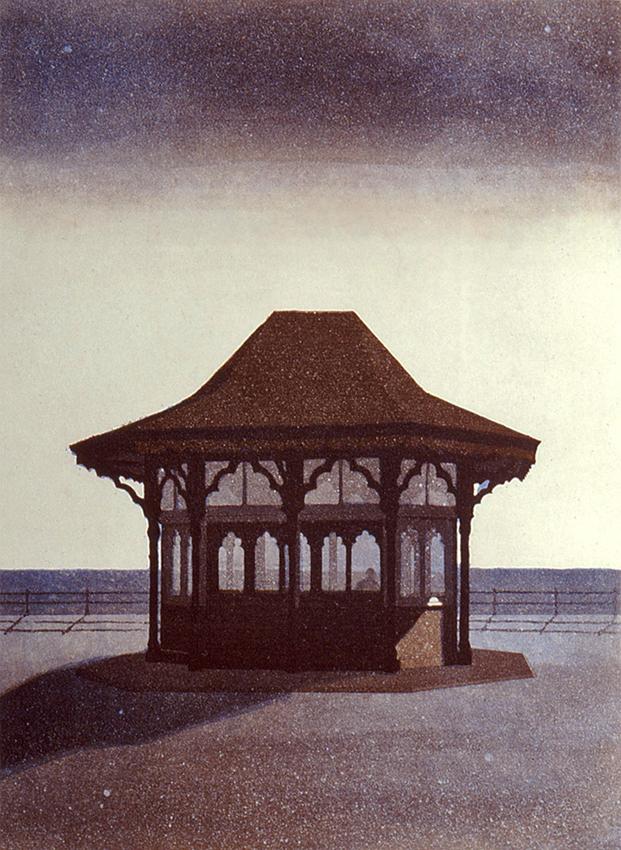 Paviljonki II 1988, akvatinta etsaus, 37x28cm pieni 2