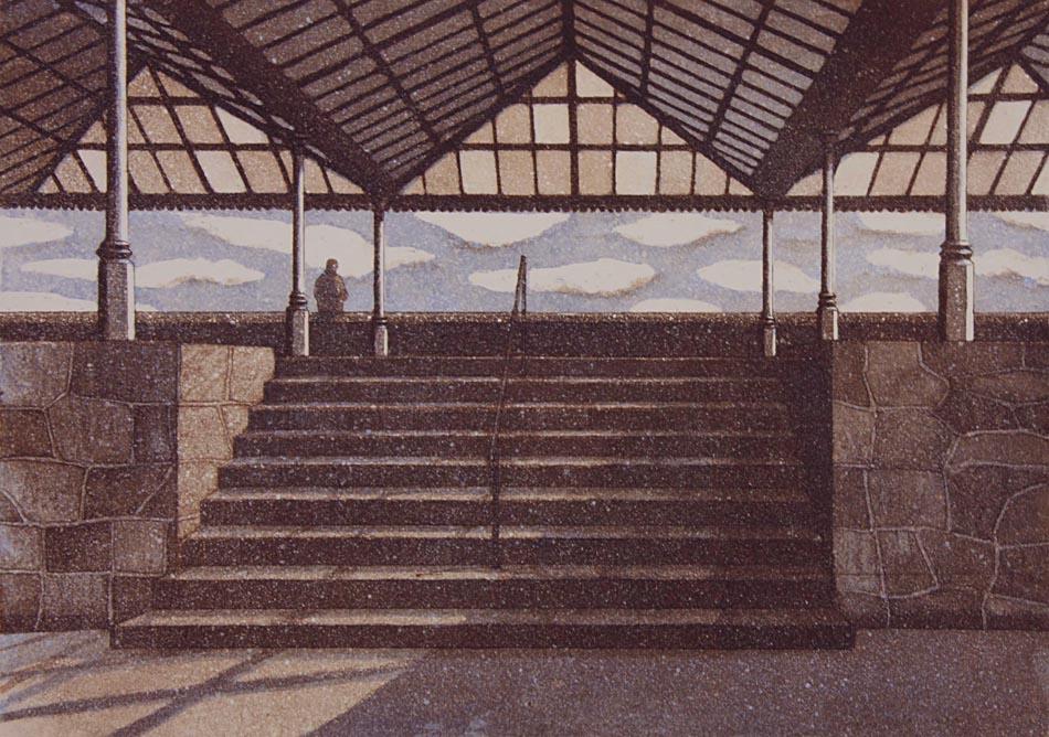 Paviljonki teatteri 21993, akvatinta etsaus, 30x42cm pieni