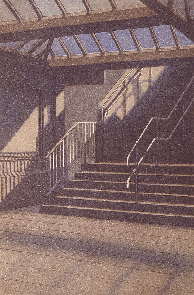 Portaat asemalle 1995, akvatinta etsaus, 37x25cm pieni