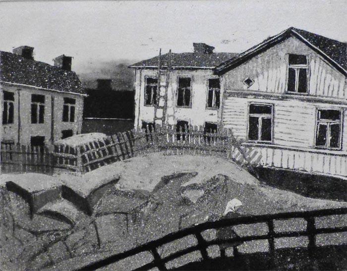 S Vanhaa Pasilaa 1977, sokeriakvatinta, laveeraus 20x24,5 cm pieni
