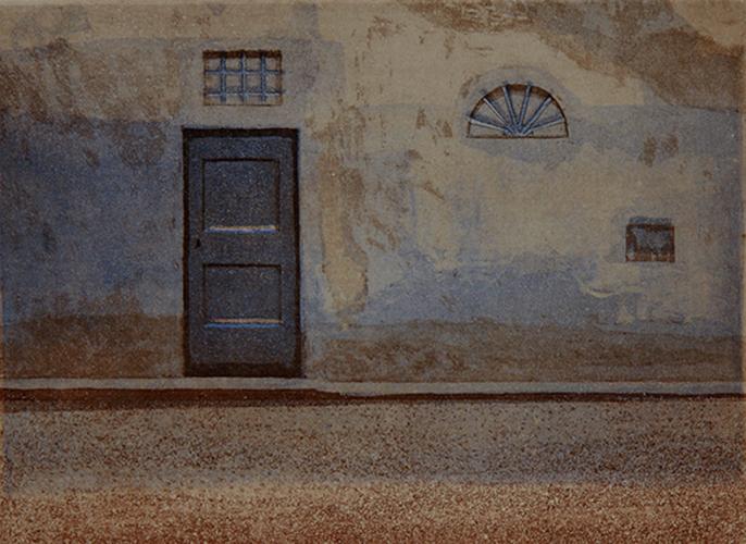 Sininen ovi 1987, akvatinta etsaus 19x26cmpieni 2