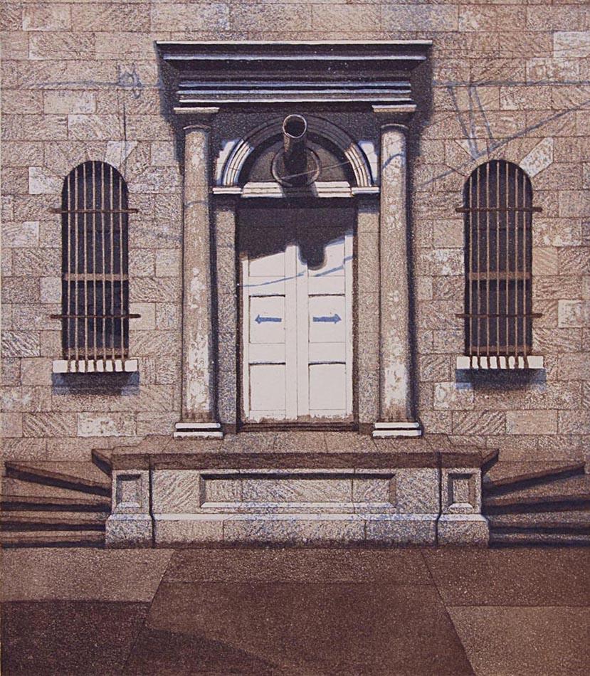 Storehouse 1986, akvatinta etsaus, 39x34cm pieni 2