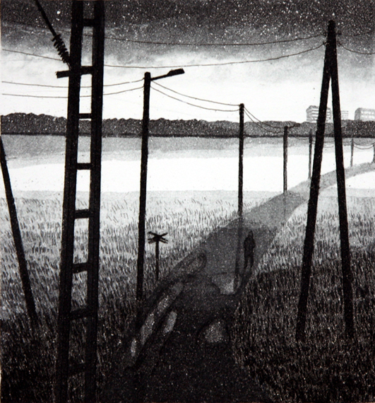 Tie lähiöön 1982, Akvatinta etsaus, 22 x 24 cm