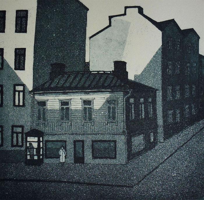 Valkeita öitä I, 1980, akvatinta etsauu, 23x23 cm uusi copy pieni