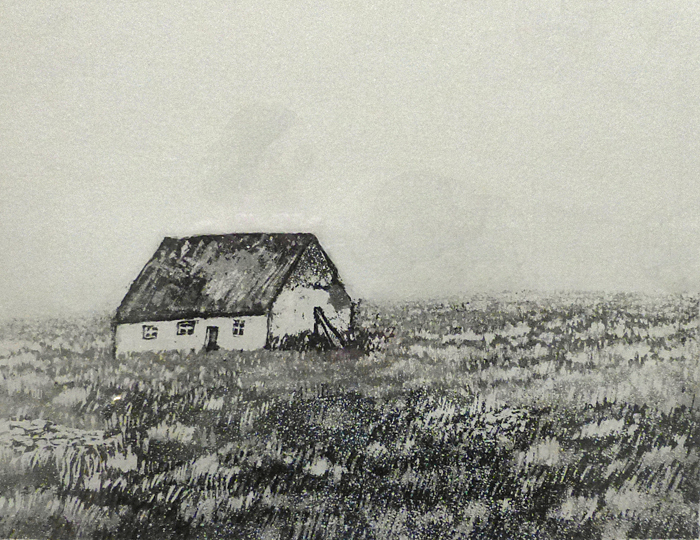 d Maisema Irlannista 1973, akvatinta laveeraus,21,5x17cm pieni uusi