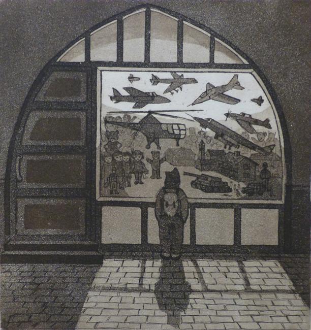 Ikkuna 1981, akvatinta etsaus, 25,5x23,5cm pieni