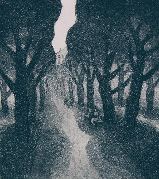 Valkeita öitä 1980, akvatintaetsaus, 21x19cm pieni copy